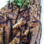 Herb-marinated grilled eggplant, balsamic vinegar, basil, thyme, parsley, garlic and olive oil. Accompanied an Italian menu.