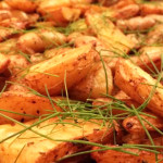 Herb roasted fingerling potatoes with romesco sauce.