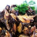 Roasted eggplant in Adjika sauce. Accompanied a Russian cuisine menu.