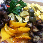 Roasted veggies. Accompanied a summertime lunch.