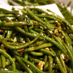 Sautéed Blue Lake Green Beans with walnuts and chevre. Accompanied a traditional American cuisine menu for a wedding. Photo by Sierra Fish.