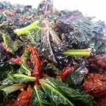 Sautéed kale with garlic, lemon juice and zest. Accompanied an American menu.