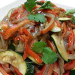 Sautéed zucchini, bell peppers and caramelized onions.
