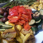 Seasonal roasted and grilled vegetables labneh and zhug. Accompanied a Moroccan menu.