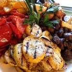 Seasonal roasted vegetables and varietal potatoes. Accompanied a California cuisine menu for a corporate summertime outdoor buffet.
