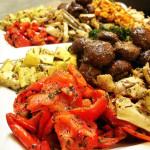 Seasonal roasted vegetables that accompanied a traditional American menu for wedding.