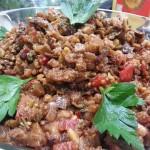 Sicilian Eggplant Caponata- tomatoes, olives, capers, oregano and pine-nuts. Accompanied a Mediterranean menu.