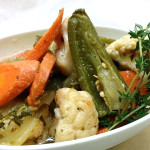 Vegetable escabeche- carrots, onions, jalapeno peppers. Accompanied a Mexican menu.