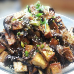 Chili and honey-glazed tofu and eggplant. Accompanied a Korean menu.