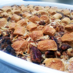 Sweet potato casserole with caramelized pecans and marshmallow. Accompanied a Thanksgiving menu.