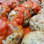 Vegetarian Meatballs in vodka sauce. Accompanied an Italian menu.