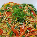 Vegetarian Sesame Noodles with ginger, peppers, green beans, sesame and roasted tofu. Accompanied a Japanese menu.