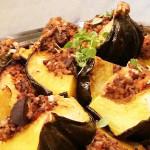 Vegetarian stuffed acorn squash- quinoa, lentils, mushrooms, tomatoes and goat cheese. Accompanied a California cuisine menu for holiday party.