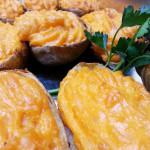 Twice baked potatoes with red pepper aioli.