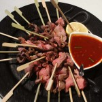 Beef Bulkogi Sticks with soy ginger dipping sauce.