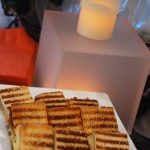 Bite Size Grilled Cheese Sandwiches with Gouda and caramelized onion.