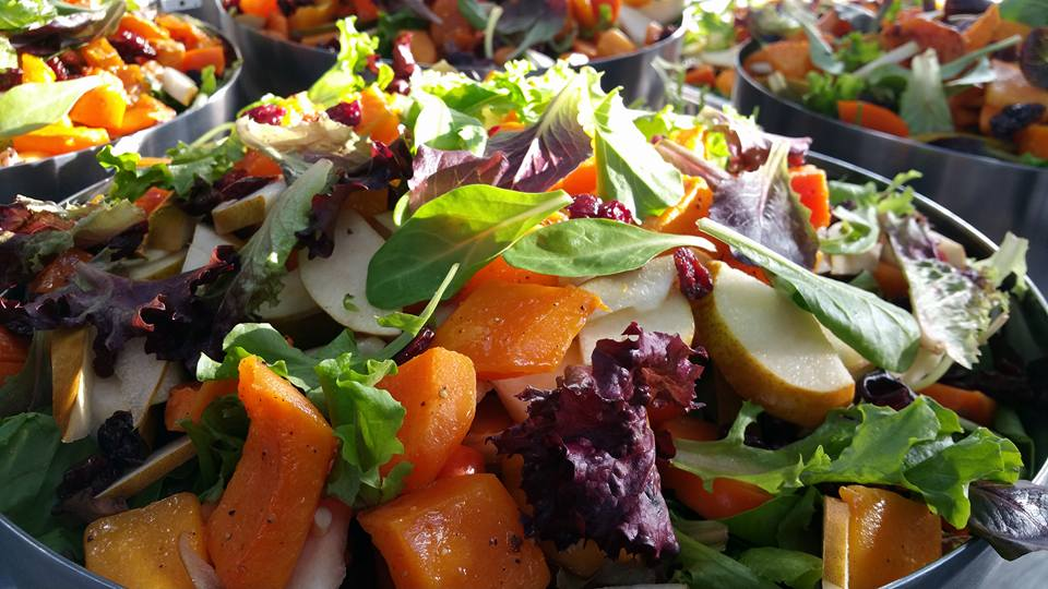 Field Greens Salad with caramelized pecans, permissions and pears, roasted butternut squash, dried cherries blue cheese and balsamic vinaigrette served on the side.Field Greens Salad with caramelized pecans, permissions and pears, roasted butternut squash, dried cherries blue cheese and balsamic vinaigrette served on the side.