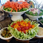 Vegetable crudités and Mediterranean platters with fresh pita triangles, marinated olives, caramelized onion dipping sauces.