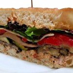 Grilled zucchini, eggplant, portabella mushrooms, roasted bell peppers, gruyere cheese and red pepper aioli.