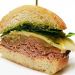 Roast beef sandwiches with chimichuri, caramelized onions, spinach, gruyere and spicy aioli sauce.